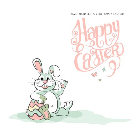 buny: Happy Easter.  Easter bunnies and egg in field. Wide copy space for text. 10 eps