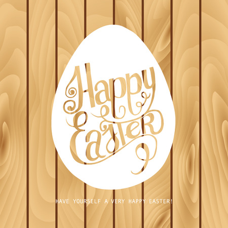 inscribed: Hand draw inscription happy Easter on the wooden background. Inscribed in the contour of the egg. Vector illustration. Ideal for graphic design and greeting cards. Illustration