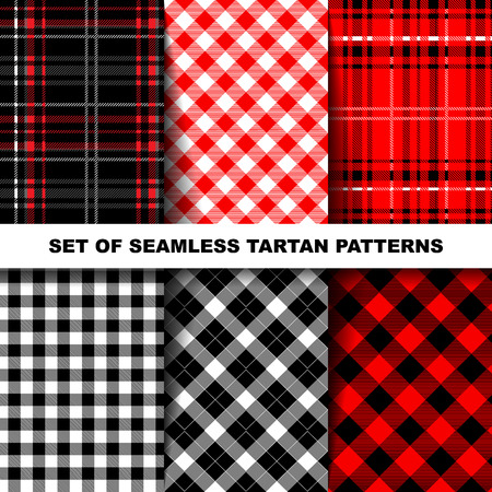 Lumberjack Tartan and Buffalo Check Plaid Patterns in Red, Black, White and Khaki. Trendy Hipster Style Backgrounds.