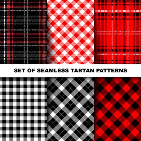 Leñador Tartán y Buffalo patrones de test de la tela escocesa en rojo, Negro, Blanco y caqui. Fondos de moda del inconformista del estilo. Ilustración de vector