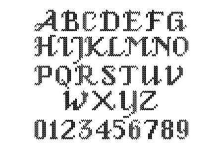 punto de cruz: El alfabeto latino. Grandes letras negras en inglés. Punto de cruz. Vectores