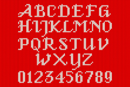 darning: White knitted alphabet and figures on a red background. Illustration