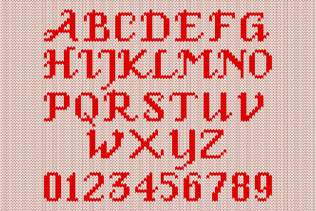 darning: Red knitted alphabet and figures on a white background. Illustration