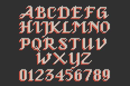 punctuation marks: Vintage knitted alphabet. Set of white knitted alphabet, numbers and punctuation marks. Illustration