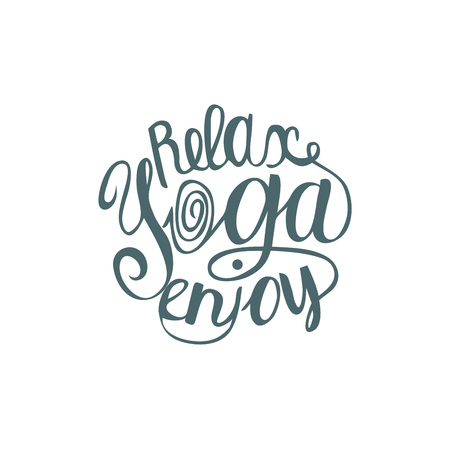 yoga poster: Hand lettering calligraphic inspiration poster with cartoon rabbits doing yoga poses.  Enjoy yoga poster or postcard. Vector illustration.