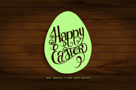 inscribed: Hand draw inscription happy Easter green on the wooden background. Inscribed in the contour of the egg. Vector illustration. Ideal for graphic design and greeting cards.