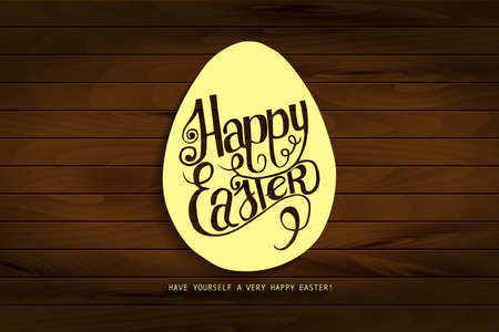 inscribed: Hand draw inscription happy Easter yellow on the wooden background. Inscribed in the contour of the egg. Vector illustration. Ideal for graphic design and greeting cards.