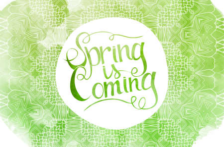 Wake up. Spring is coming watercolor lettering on a green background. Vector illustration.