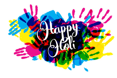 illustration of splashy bucket with pichkari in Happy Holi background. Vector illustration. Great banner for a festive graphic or web design Illustration