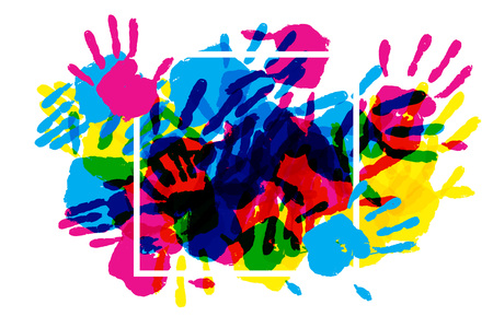 handprints: Big square frame made of colored handprints. Vector illustration. Great banner for graphic or web design
