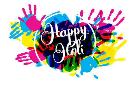 illustration of splashy bucket with pichkari in Happy Holi background. Vector illustration. Great banner for graphic or web design