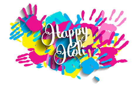illustration of splashy bucket with pichkari in Happy Holi background. Vector illustration.  Great banner for graphic or web design Illustration