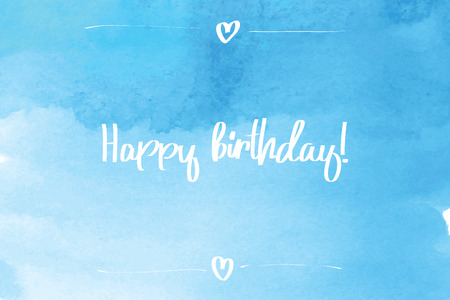 hand painted: Hand Painted Happy Birthday Script on Decorative Background. Illustration