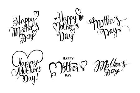 madre: Conjunto de la vendimia Día de madres feliz Vectores