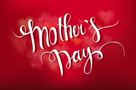 Bonne fête des mères Card Design Typographical Avec Fond rouge.