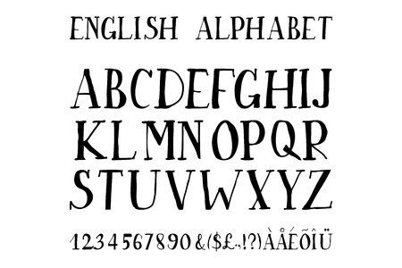 Retro alphabet font. Type letters, numbers and punctuation marks. Scratched background.