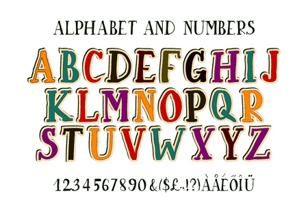 punctuation marks: Retro alphabet font. Type letters, numbers and punctuation marks. Scratched background.