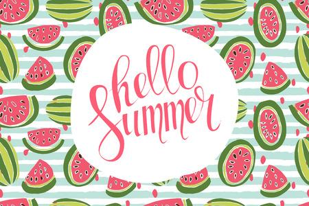 inscription: Hello Summer inscription on the background of watermelon.