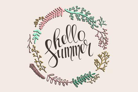 Hello summer inscription. Illustration