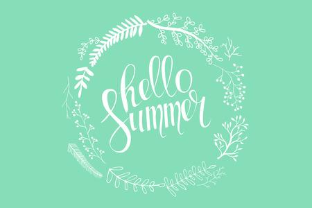 of the inscription: Hello summer inscription. Illustration