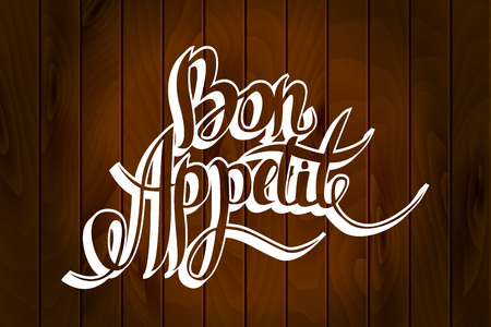 bon: Bon appetit hand drawn lettering. Vector eps10 illustration Illustration