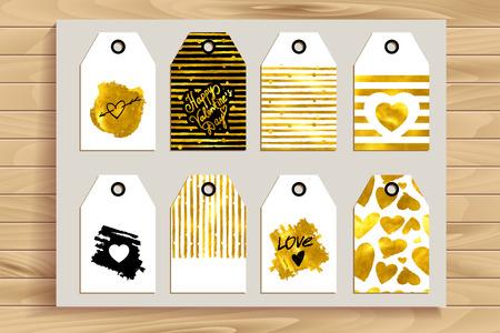 Set di carte d'epoca d'oro per le nozze e il giorno di San Valentino. Ideale per Save The Date, baby shower, madri giorno, San Valentino, carte di compleanno, inviti. Illustrazione di vettore per il design d'oro. Archivio Fotografico - 60487415