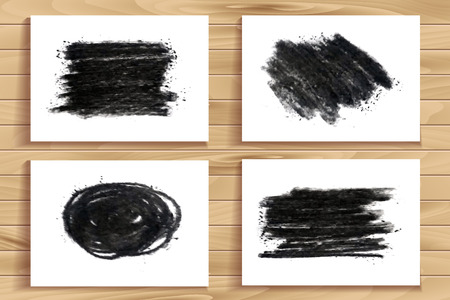 smudge: Hand drawn charcoal chalk texture set. Vector charcoal design element. Coal stain for banner. Charcoal background. Ink brush stroke. Charcoal stroke background. Scribble coal smudge Dirty brush stroke