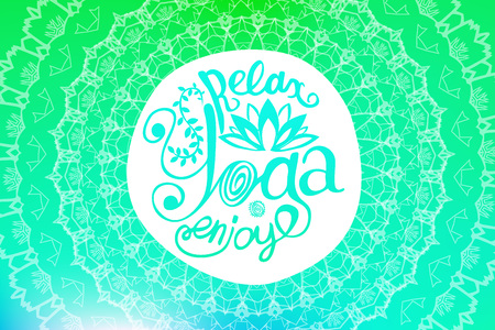 yoga poster: Vector yoga illustration. Yoga poster with an ethnic pattern. Template with Indian ornament and your text for yoga class, yoga studio, fitness center, advertising, yoga magazine.