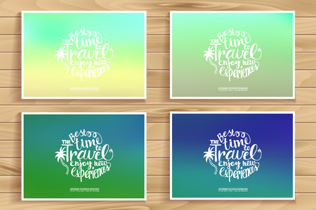 pixelate: Travel time posters set. Blurred pixelate sea beach background. Travel time. Typography. Creative concept in a modern style. Mobile applications, web sites, graphic design. Illustration