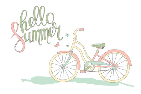 recreational pursuit: Hello summer. Cute romantic card with bicycle and calligraphy. Cute vector illustration for postcards, posters, stickers. Cute blue bike Illustration