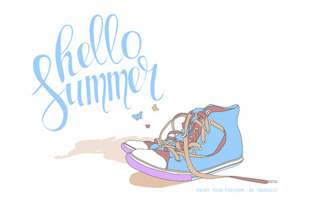 logotypes: Summer tropical beach background with original hand lettering Hello Summer. Illustration for logotypes, posters, greeting and invitation cards, print and web projects.