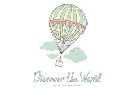 discover: Discover the world. Vintage motivational postcard with balloon. Vector illustration