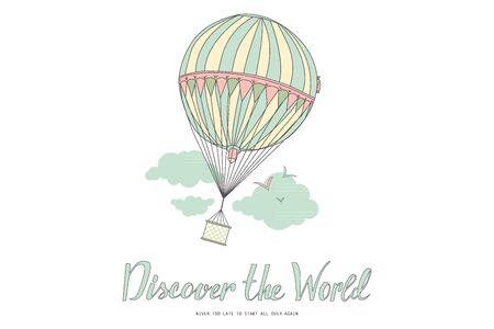 Entdecken Sie die Welt. Vintage-Motivpostkarte mit Ballon. Vektor-Illustration Vektorgrafik