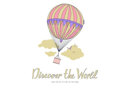 Discover the world. Vintage motivational postcard with balloon. Vector illustration