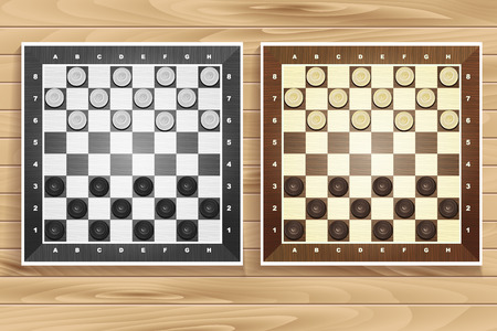 draughts: Vector set of chess boards on wooden background. checkers or draughts, a traditional board game with pieces in dark and light brown, vector illustration