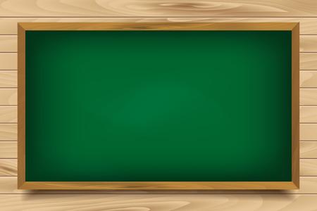 green board: School green Board on wooden background. Vector illustration