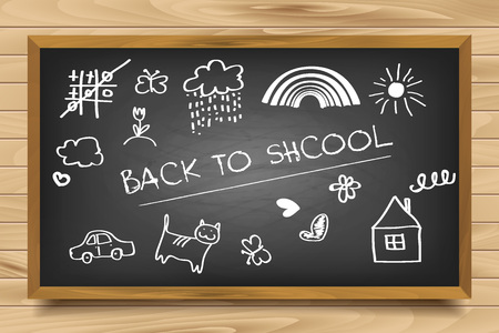 semester: Welcome Back To School Typographical Background On Chalkboard With School Icon Elements
