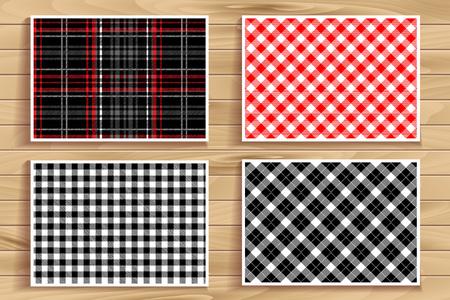 lumberjack shirt: Set Tartan Seamless Pattern. Lumberjack Flannel Shirt Inspired. Seamless Tiles. Trendy Hipster Style Backgrounds. Vector Files Pattern Swatches