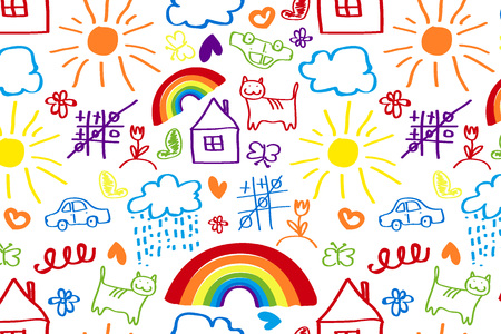 Seamless pattern with doodle children drawing. Vector illustration for your graphic design.