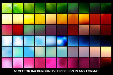 60 Creative concept vector multicolored blurred background set. For web and mobile applications art illustration template design, infographics and social media in a modern style.