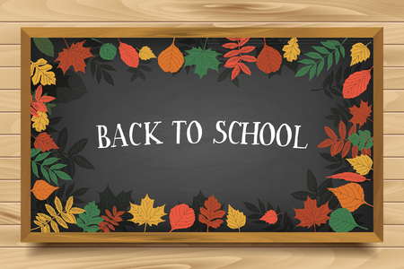 hi back: Back to School. Autumn leaves are drawn on the blackboard. Fall of the leaves. Illustration