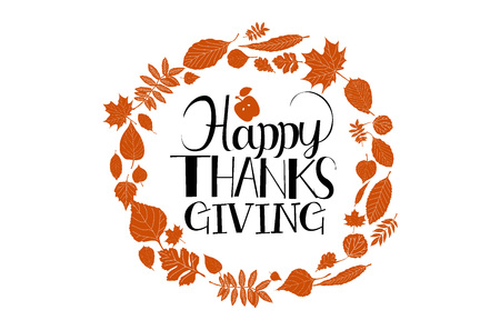 Flat design style Happy Thanksgiving Day, badge and icon. Happy Thanksgiving Day template. Thanksgiving Day card template. Happy Thanksgiving banner, flyer