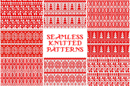 8 Knitted Christmas pattern. Trendy Hipster Style Backgrounds. Vector Files Pattern Swatches. Seamless pattern with doodle children drawing. Vector illustration for your graphic design.