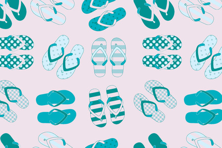 beach slippers: beach slippers colorful seamless background. Vector illustration for your graphic design. Great for textile print. Illustration