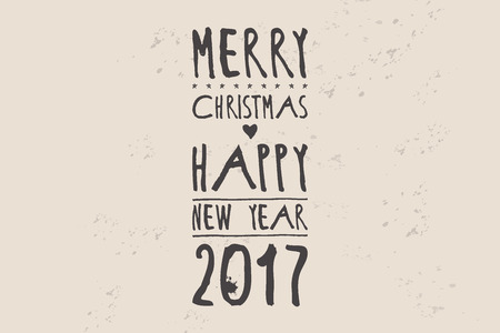 Simple green Wishing you a Happy New Year 2017 card with a crown. Cute Merry Christmas and Happy New Year handwritten calligraphy card.