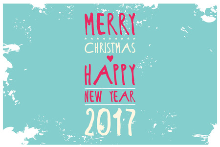 nye: Simple green Wishing you a Happy New Year 2017 card with a crown. Cute Merry Christmas and Happy New Year handwritten calligraphy card.