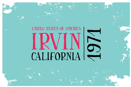 cad: Vintage Touristic Greeting Cad. Irvin. California VEctor illustration