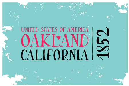 ecard: Vintage Touristic Greeting Card. Oakland. California VEctor illustration
