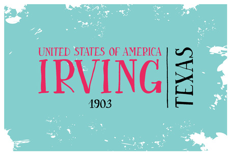 cad: Vintage Touristic Greeting Cad. Irving. Texas VEctor illustration