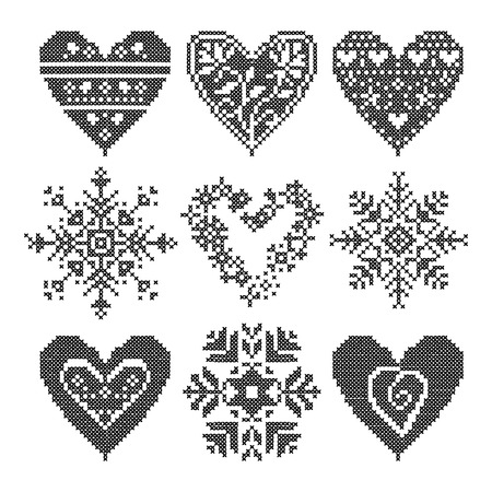 knitted: Knitted pattern, knitting, patchwork, knitting pattern patchwork, knitting scheme knitted squares. Set patchwork knitted with a New Year snowflake motif. Christmas background.